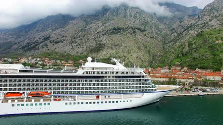 montengro : Viking, a cruise ship in the Bay of Kotor in Montenegro. Near the old town of Kotor. Aerial Photo drone. A beautiful country to travel.