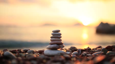 balanced : Balance stones on the beach. Peace of mind. Equilibrium life. Calming nerves.