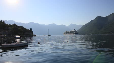 kotorska : Big viking cruise ship in the Bay of Kotor in Montenegro. View it from Perast. A beautiful country to travel.