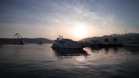 yat : Yacht Porto Montenegro. Elite marina of Tivat in Montenegro Stok Video