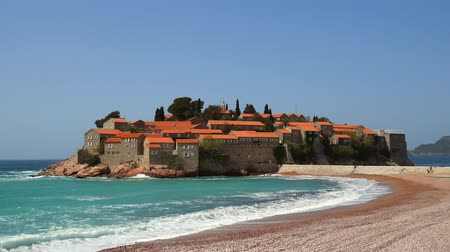 budva : Island of Sveti Stefan, close-up of the island in the afternoon. Montenegro, the Adriatic Sea, the Balkans.