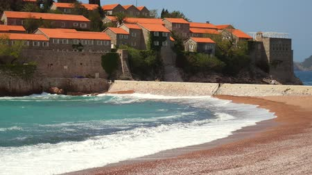 saint stephen : Island of Sveti Stefan, close-up of the island in the afternoon. Montenegro, the Adriatic Sea, the Balkans.