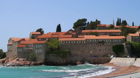 adriático : Island of Sveti Stefan, close-up of the island in the afternoon. Montenegro, the Adriatic Sea, the Balkans.