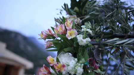 alstroemeria : Flowers Alstromeria and olive branches in the wedding arch. Wedding in Montenegro. Flora of Montenegro. Stock Footage