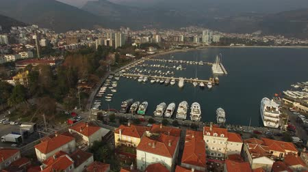 budva : The Old Town of Budva, aerial shooting with air drone in Montenegro