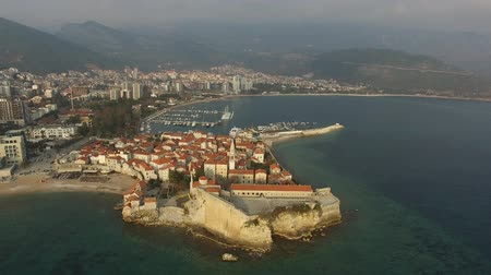 balkan : The Old Town of Budva, aerial shooting with air drone in Montenegro