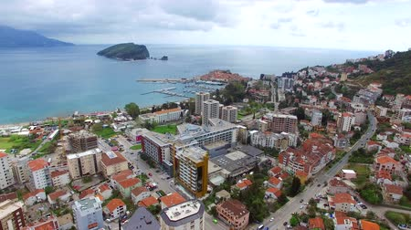 balkan : Budva, Montenegro New Town aerial photography Stock Footage