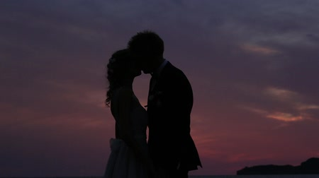 biblia : Silhouette of the newlyweds against the sky at sunset. Wedding in Montenegro. Silhouette of a couple. Silhouette of the bride and groom.