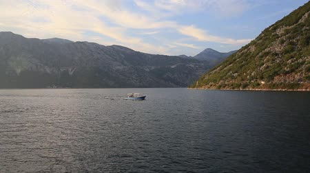 kotorska : Boat in the Bay of Kotor. Montenegro, the water of the Adriatic Sea. Boats, yachts, liners.