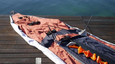roomy : Folding kayak. Assembling the kayak on the shore of the Bay of Kotor.
