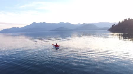 kenu : Kayak on Lake Skadar in Montenegro. Tourist kayaking. Aerial Photo drone.