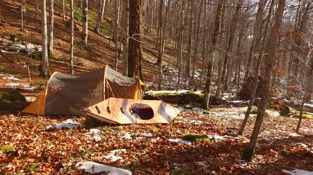 каноэ : Tent and kayak in the forest. Winter forest in Montenegro, National Park Biogradska Gora.