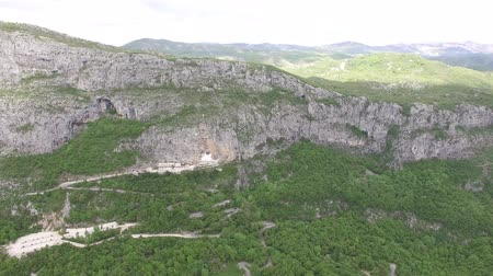 eski şehir : Monastery of Ostrog in Montenegro. Aerial survey of drones.
