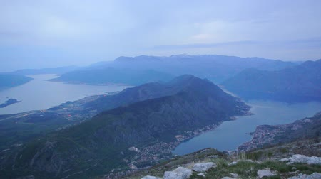 gora : Bay of Kotor at night. View from Mount Lovcen down towards Kotor in Montenegro. Stock Footage