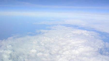 stratosfer : Clouds view from an airplane. Snow-white velvet clouds. Stok Video