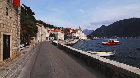 fiorde : The old town of Perast on the shore of Kotor Bay, Montenegro. The ancient architecture of the Adriatic and the Balkans. Fishermens cities of Europe.