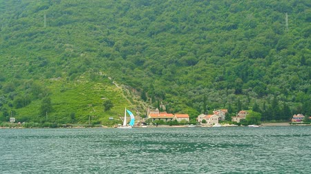 balkan : Yachts, boats, ships in the Bay of Kotor, Adriatic Sea, Montenegro Balkans