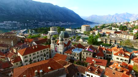 balkan : Church The Orthodox Church of St. Nicholas of Kotor, Montenegro, Kotor Bay, the Balkans, the Adriatic Sea. Stock Footage