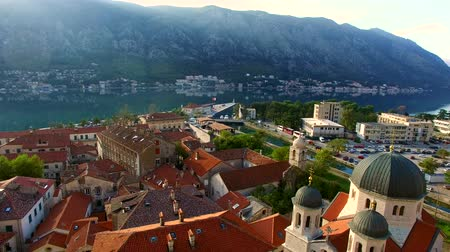 luke : Church The Orthodox Church of St. Nicholas of Kotor, Montenegro, Kotor Bay, the Balkans, the Adriatic Sea. Stock Footage