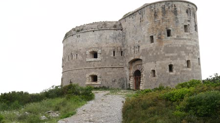 венгерский : Fort Arza in Montenegro, near the island of Mamula in the Adriatic Sea. Стоковые видеозаписи