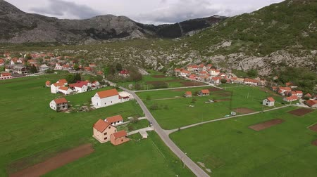 haziran : The house and the village in the mountains. The village Njegusi in Montenegro, on the mountain Lovcen. Aerial Photo drone.
