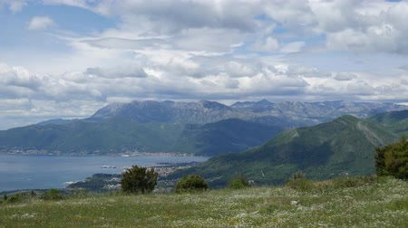 fortificação : The view from the mountains in Montenegro from Fort Gorazde. Kotor Bay, the mountains of Montenegro Airport.