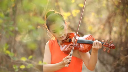 Asian women jazz musician with violin