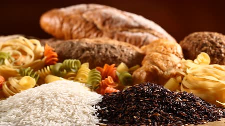 brown rice : Various mix of rice and bread Stock Footage