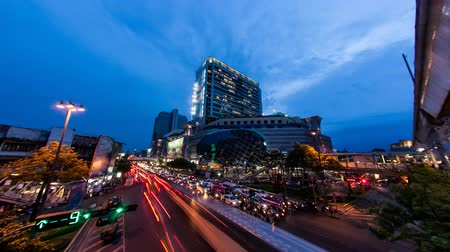 Bangkok city twilight view with traffic, Time lapse
