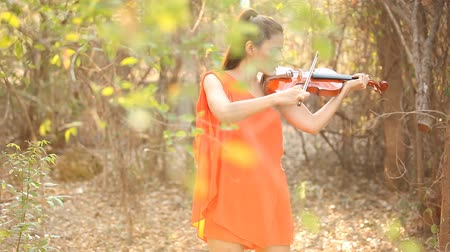 Asian woman with violin