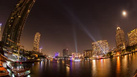 Bangkok city twilight view with boat and ship traffic,Time lapse, Стоковые видеозаписи