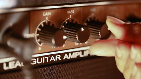 knob : Amplifier electric guitar control panel Stock Footage