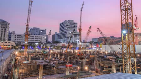 Construction site with cranes,time lapse