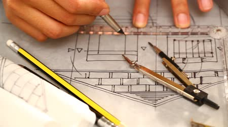 measure tape : Blueprints  in workplace for architectural plan,sketch a construction project Stock Footage