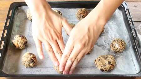 bolachas : Homemade Cereal Cookies Preparing To Bake, Stock Video Stock Footage