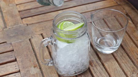 sparkling drink : Lime sparkling water cold drink, stock video