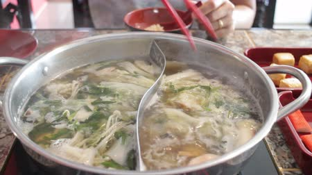 hotpot : Delicious hot pot shabu meal with seafood, stock video