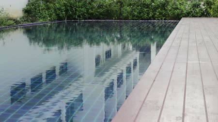 Wooden frame of swimming pool, stock footage