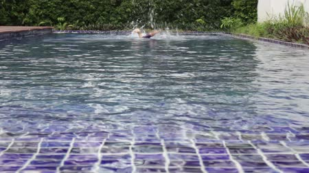Swimmer return diving freestyle swimming pool, stock footage