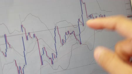 Online investor monitoring financial technical graph, stock footage Dostupné videozáznamy