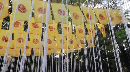заслуга : Pray merit ceremony flags decorated in Thai public temple, stock footage Стоковые видеозаписи