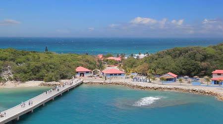 LABADEE, HAITI - APRIL 16, 2017: Tropical resort with pier at the private port of Labadee in the Caribbean Island of Haiti