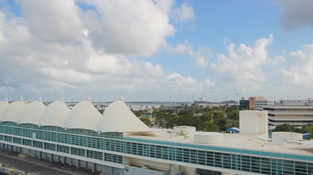 MIAMI, USA - APRIL 14 2017: Cruise port of Miami from the ship sailing from Royal Caribbean cruise terminal