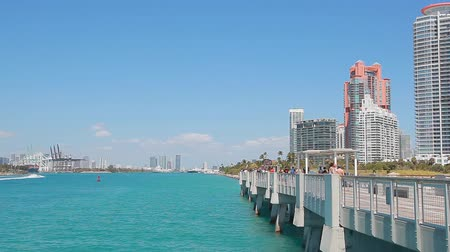 u boats : Miami, Fl, USA - APRIL 13, 2017: View of Miami from South Pointe Pier, Miami Beach.