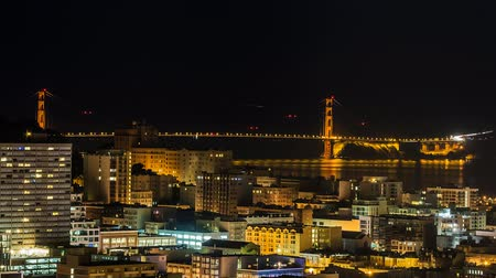 Time lapse of San Francisco bay area with Golden Gate Bridge from night to day 影像素材