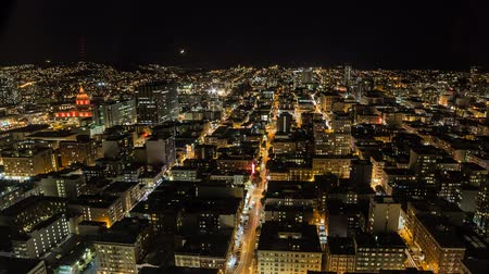 Timelapse of San Francisco at night with moving moon