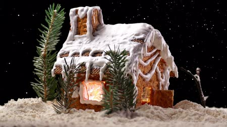 dom : A Rotating Christmas Gingerbread House with Starry Sky