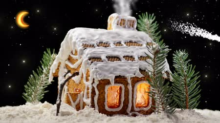 bolachas : Christmas Gingerbread House with Starry Sky and Moon