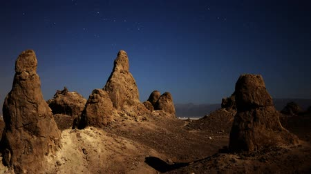 trona : Astrophotography time lapse with pan left motion of night to day transition over eroded formation in Trona Pinnacles