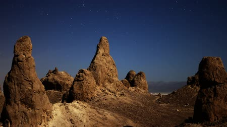 trona : Astrophotography time lapse with zoom in motion of night to day transition over eroded formation in Trona Pinnacles